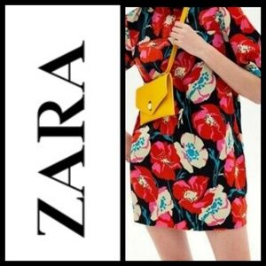 Zara TRF Collar Black dress with floral Applique